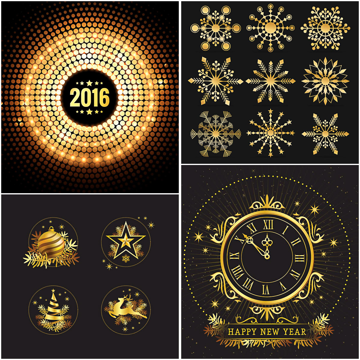 Retro golden christmas and New Year design elements free vector