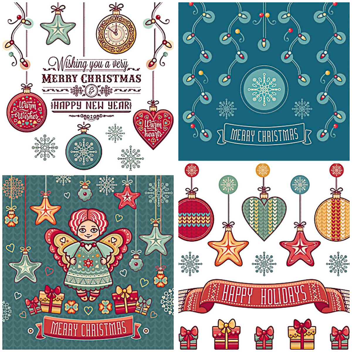 Noel cute cards with angels free vector