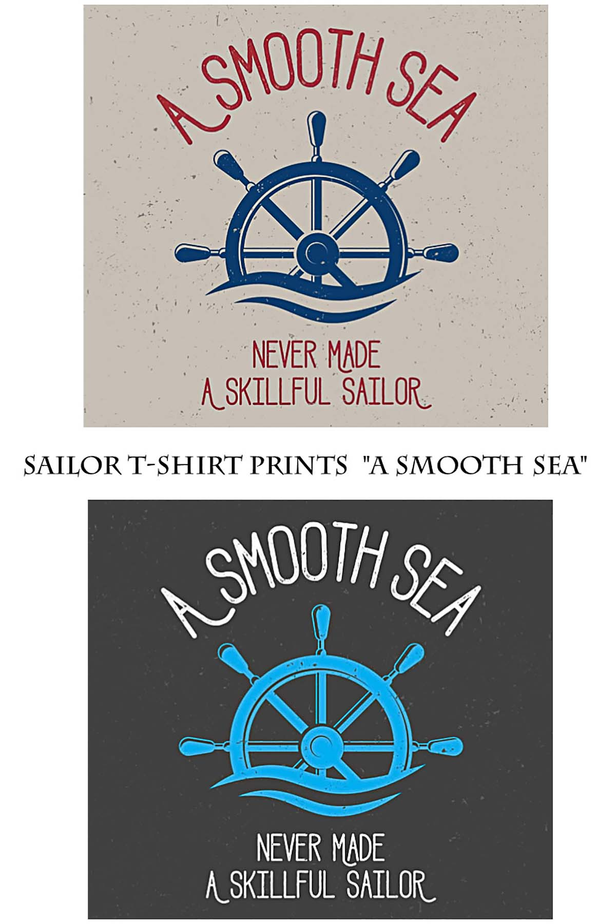 Sailor t-shirt print with steering wheel free vector