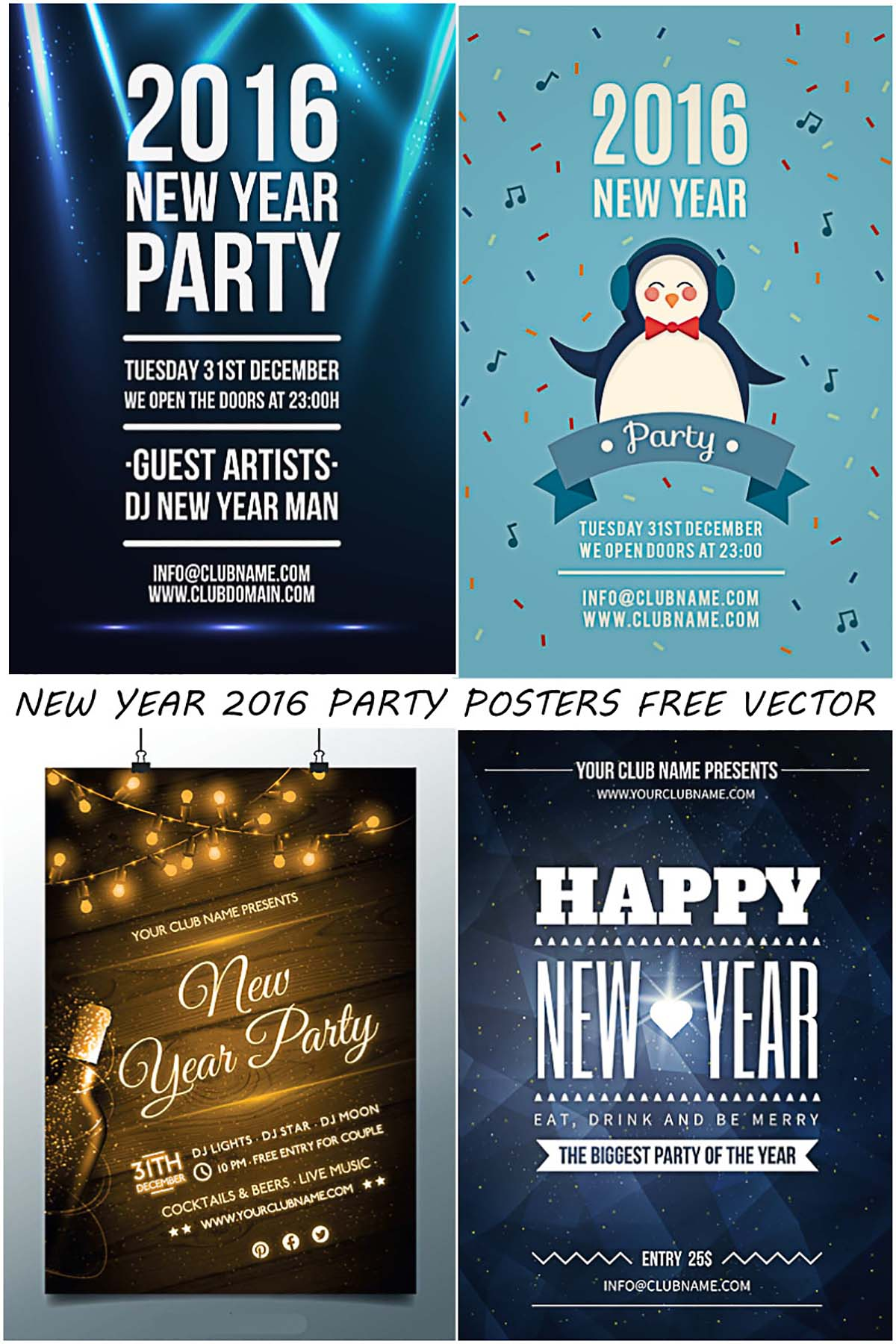 Cute party posters for Christmas and New Year 2016 free vector set