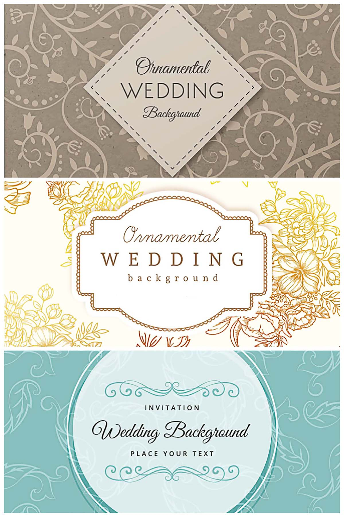 Chic ornamental wedding invitations free vector card