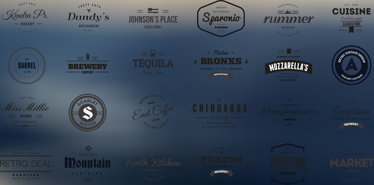 Vintage logotypes and badges for restaurants vectors