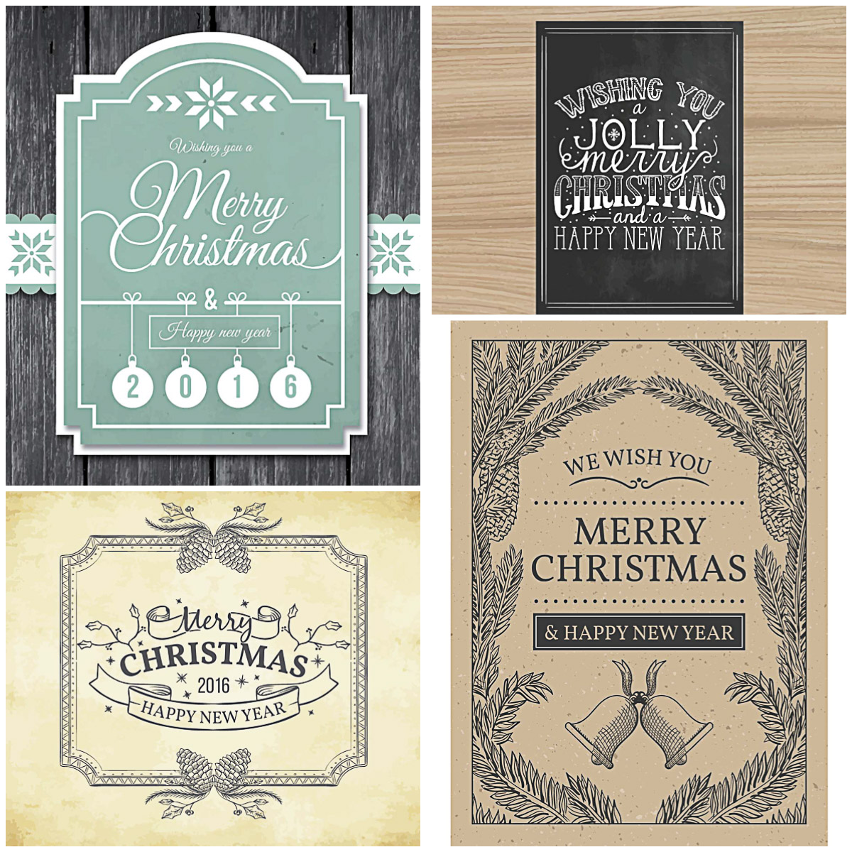 Retro Christmas and New Year postcards on wooden boards vector set