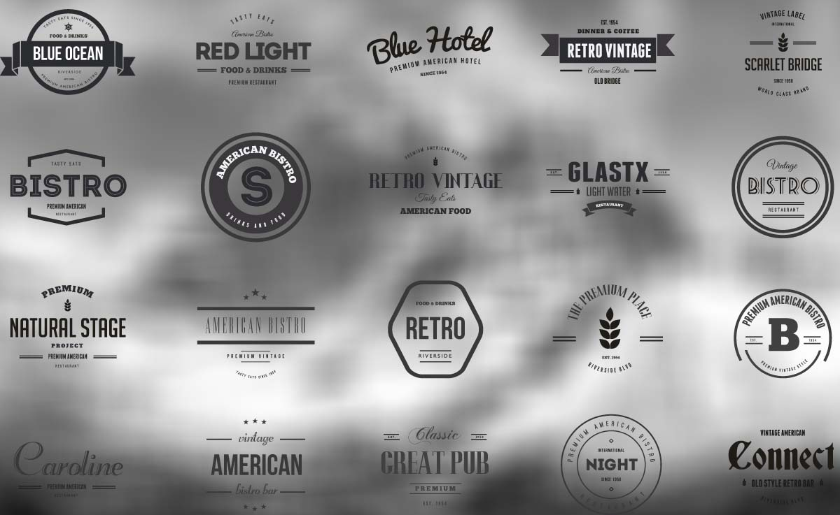 Retro badges and logos for cafe and bistro vector collection