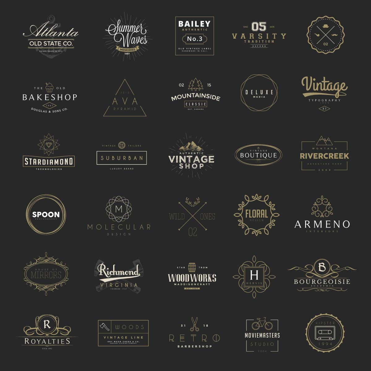 Retro logos and badges restaurant and shop vector
