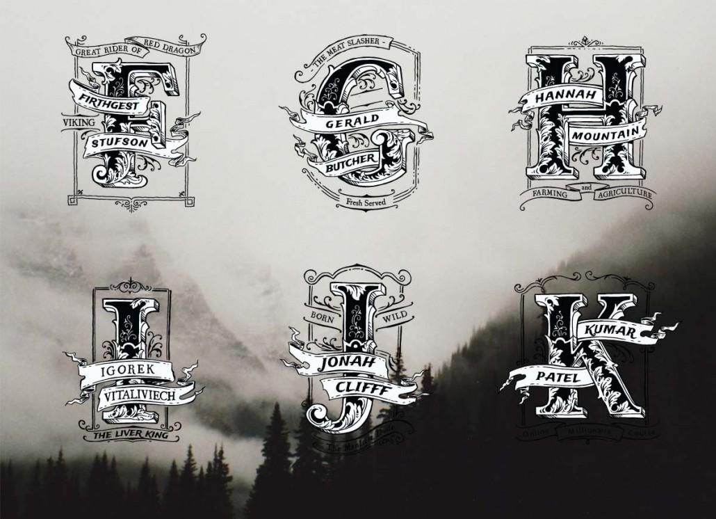 vintage monogram name logo fk