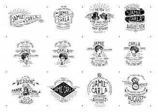 Unique vintage wedding stickers vector pack