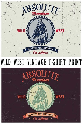 Absolute freedom with horse  t-shirt design print free vector