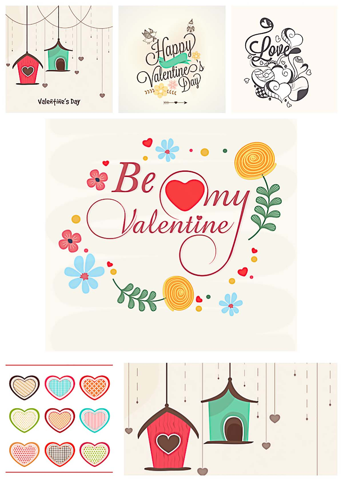 Creative St. Valentine's day cards and elements vectors