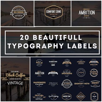 20 Typography labels and logos collection