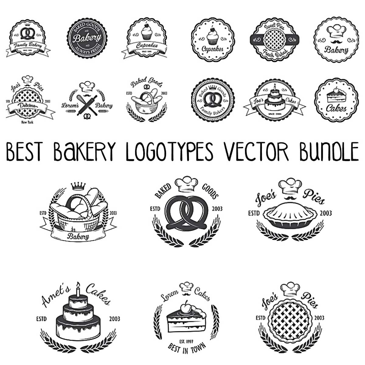 Bakery logotypes best vector bundle