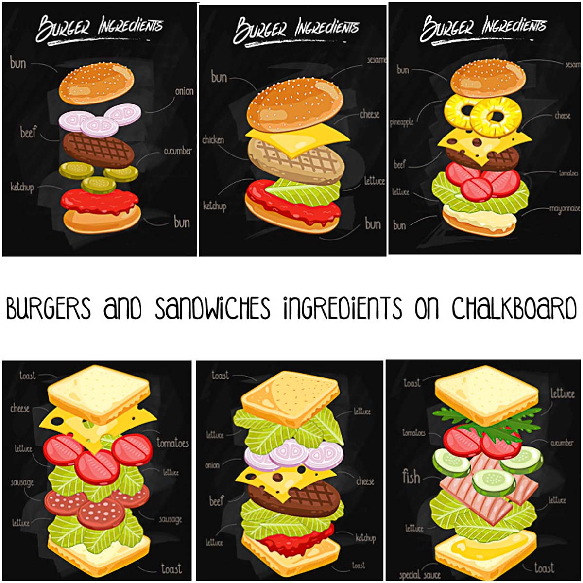 Sandwiches and burgers illustrations on chalkboard free vector