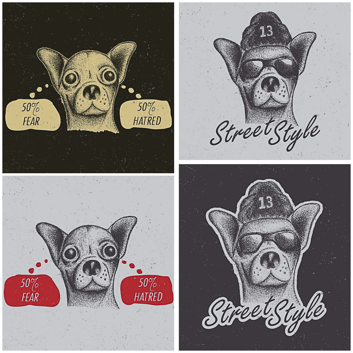 T-shirt design dog chihuahua dotwork free print