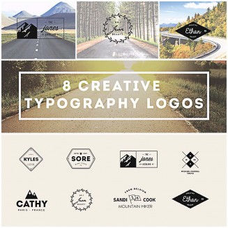 8 Typography logotypes and labels creative collection