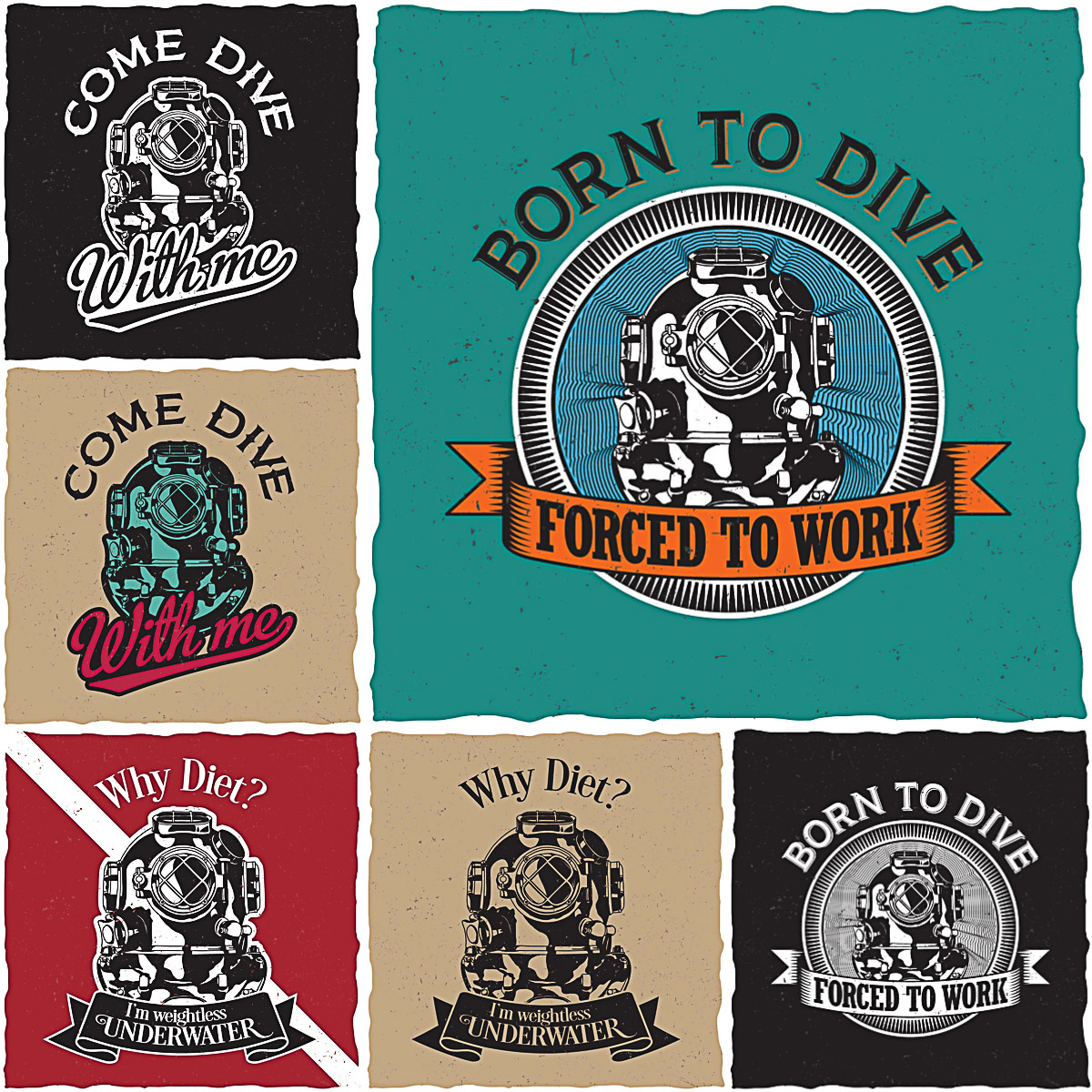 Diver T Shirt Labels Design Print Free Download