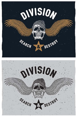 Division t-shirt print with skull