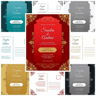 Ornate wedding invitations design vector