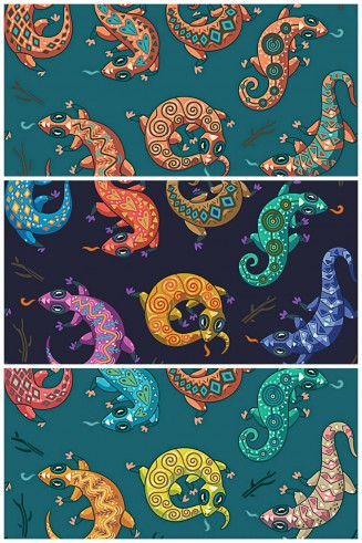 Ethnic geckos seamless pattern vector set
