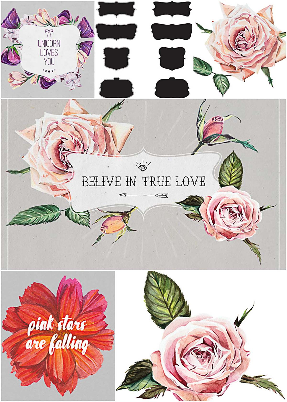 Watercolor flowers and frames bundle