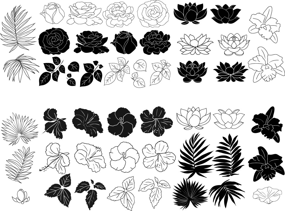 Flowers And Leaves Elements Vector Set Free Download