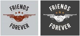T-shirt design print friends forever with guns
