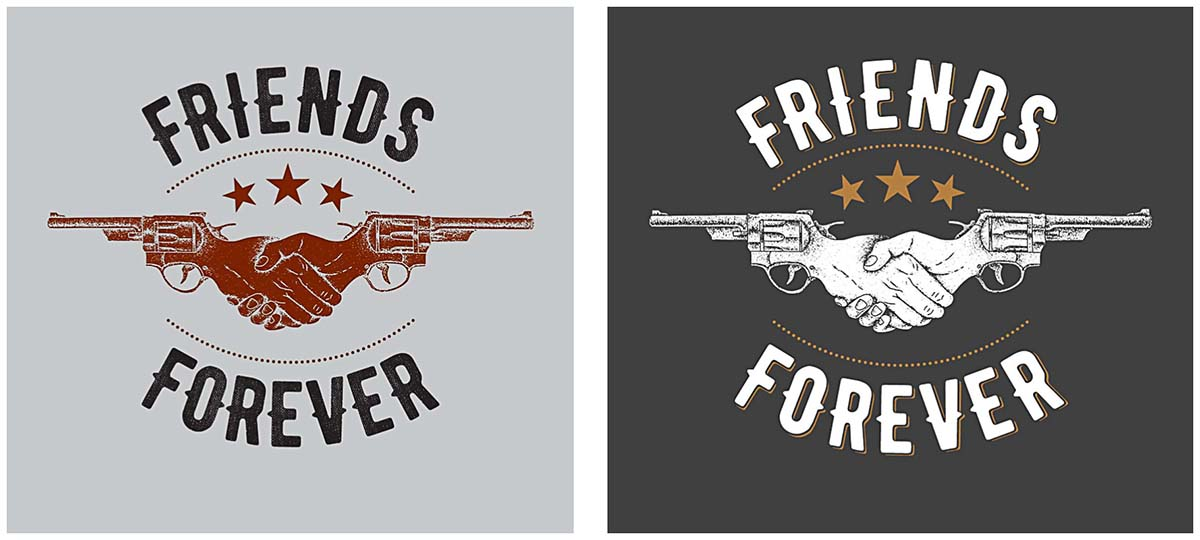 T-shirt design print friends forever with guns
