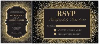 glitter and gold wedding invitation vector