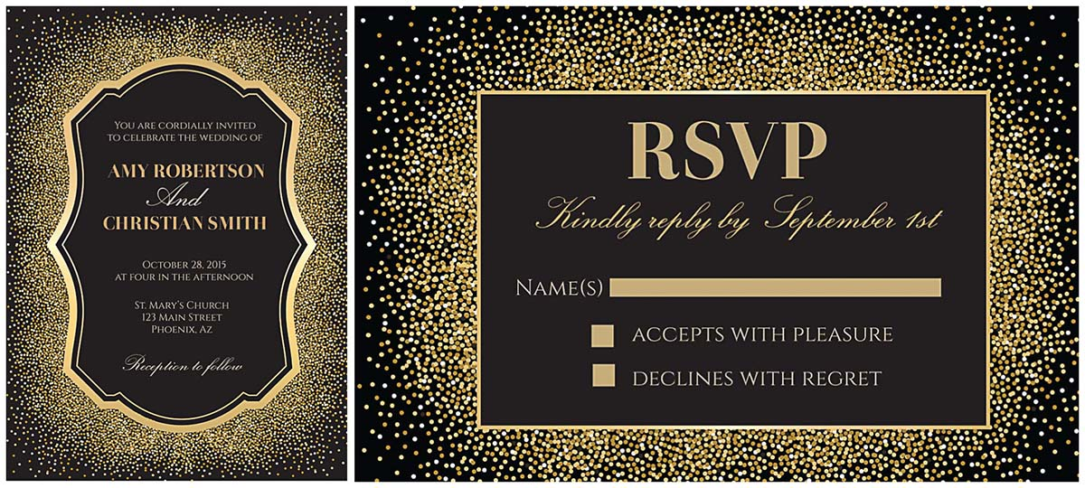 glitter and gold wedding invitation vector