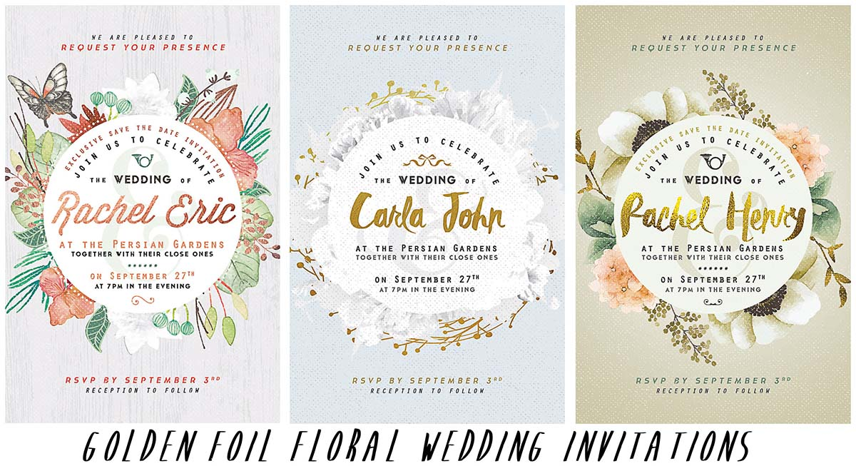 Golden wedding invitations with flowers
