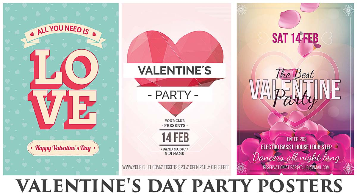 happy valentines day party poster with petals - Valentine Poster