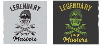 Garage masters T-Shirt design with skull illustration vector