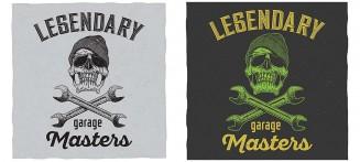 Garage masters T-Shirt design with skull illustration vector