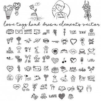hand drawn love elements free vector bundle