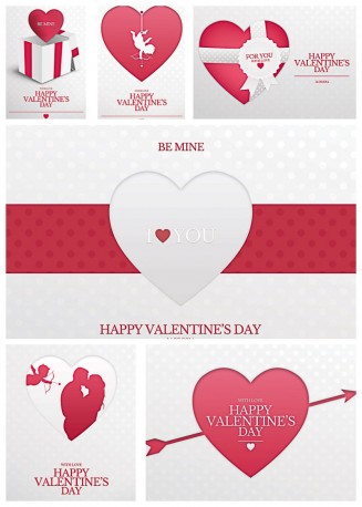 Valentine's day lovely postcards with hearts vector set