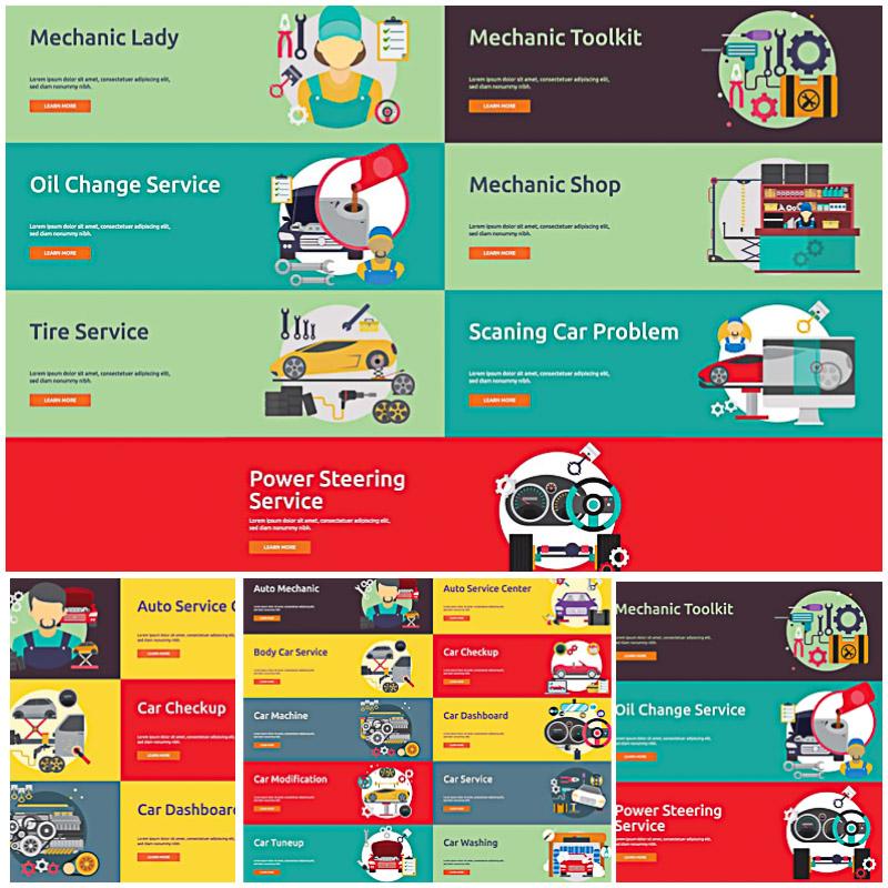 Modern mechanic auto illustrations vector bundle