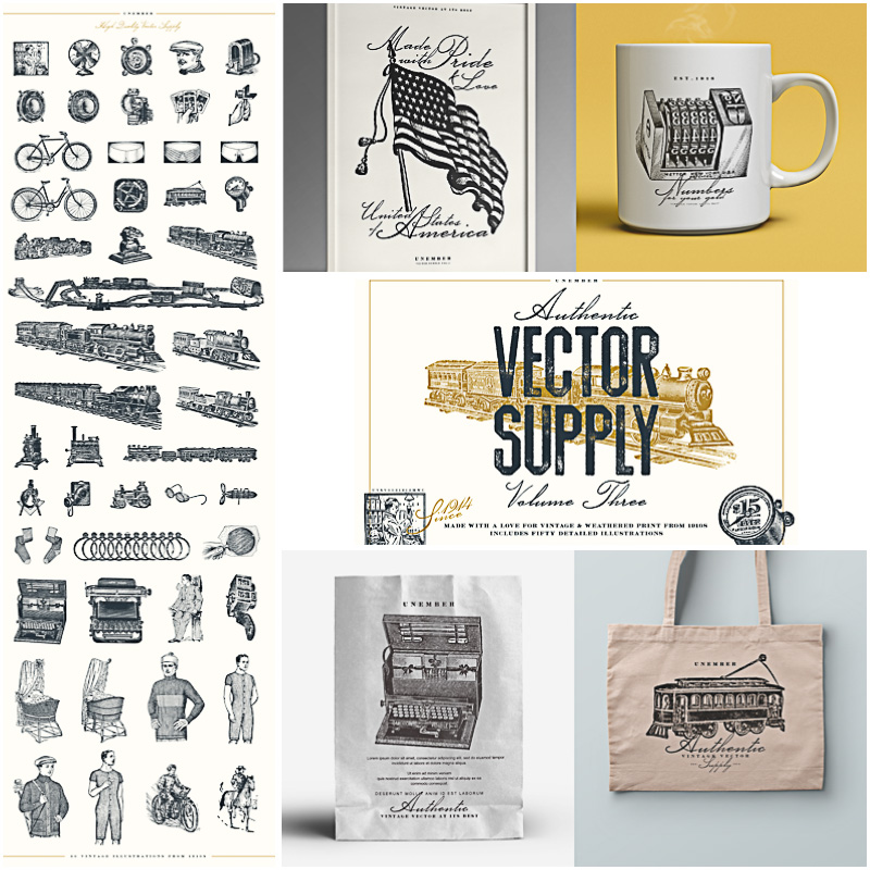 Vintage engravings illustrations vector bundle