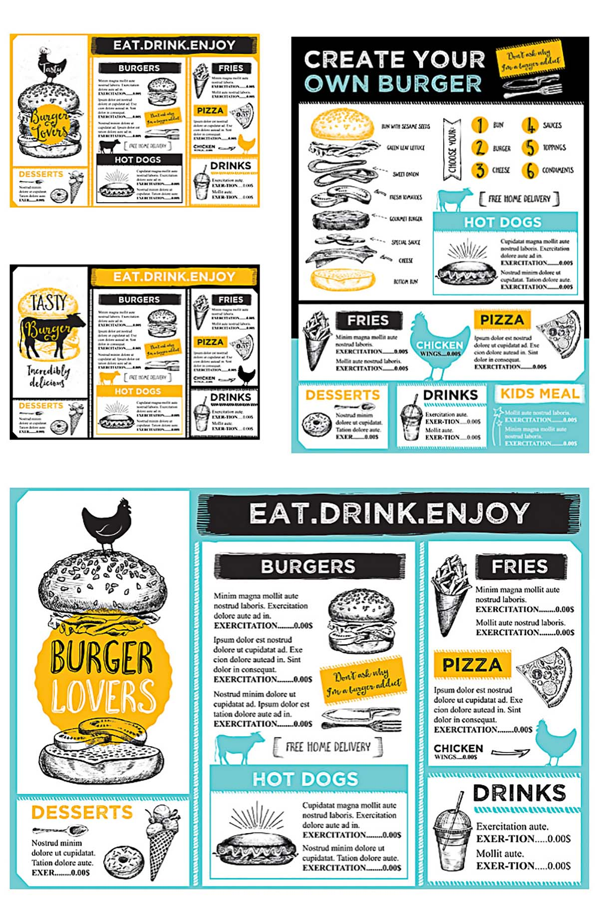 Burger lovers restaurant menu template vector set