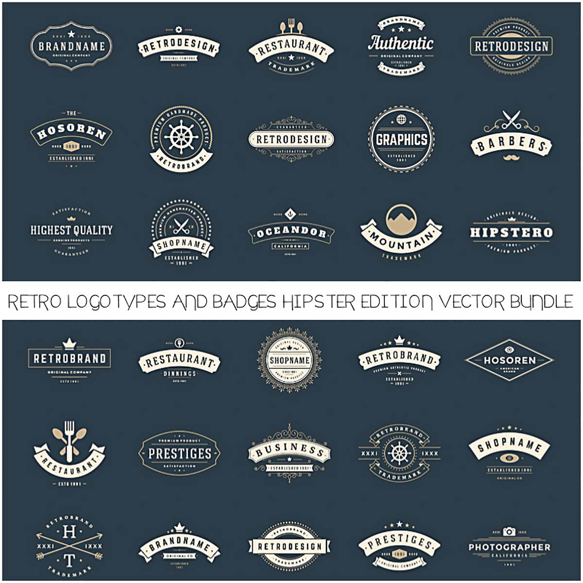 Hipster logotypes and badges retro vector set
