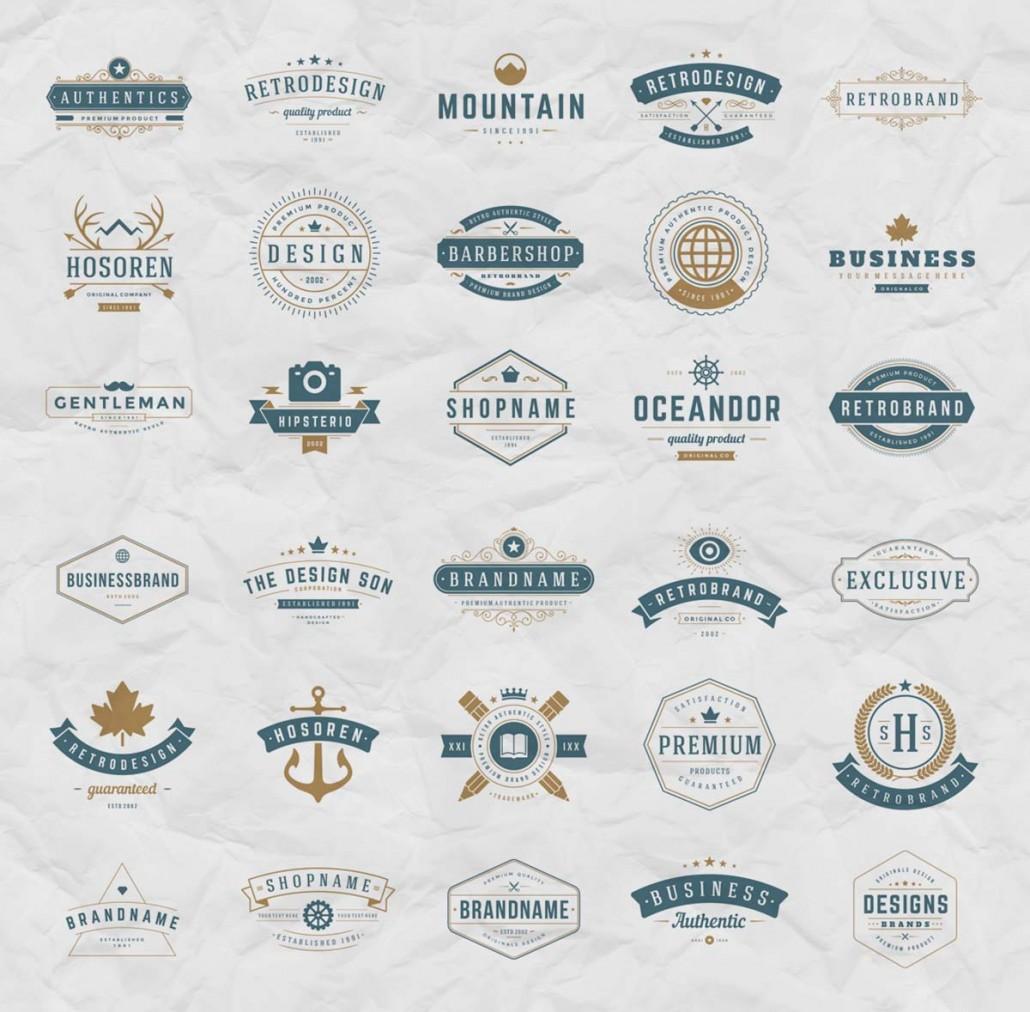 Retro Logotypes Design Vector