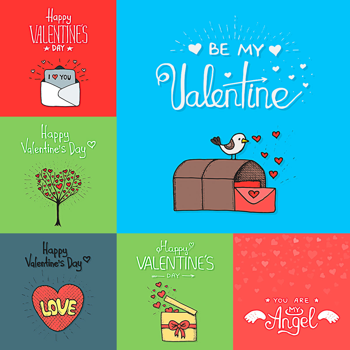 Cute valentines day cards with hand painted elements