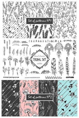 Tribal set of patterns, wreaths and arrows bundle