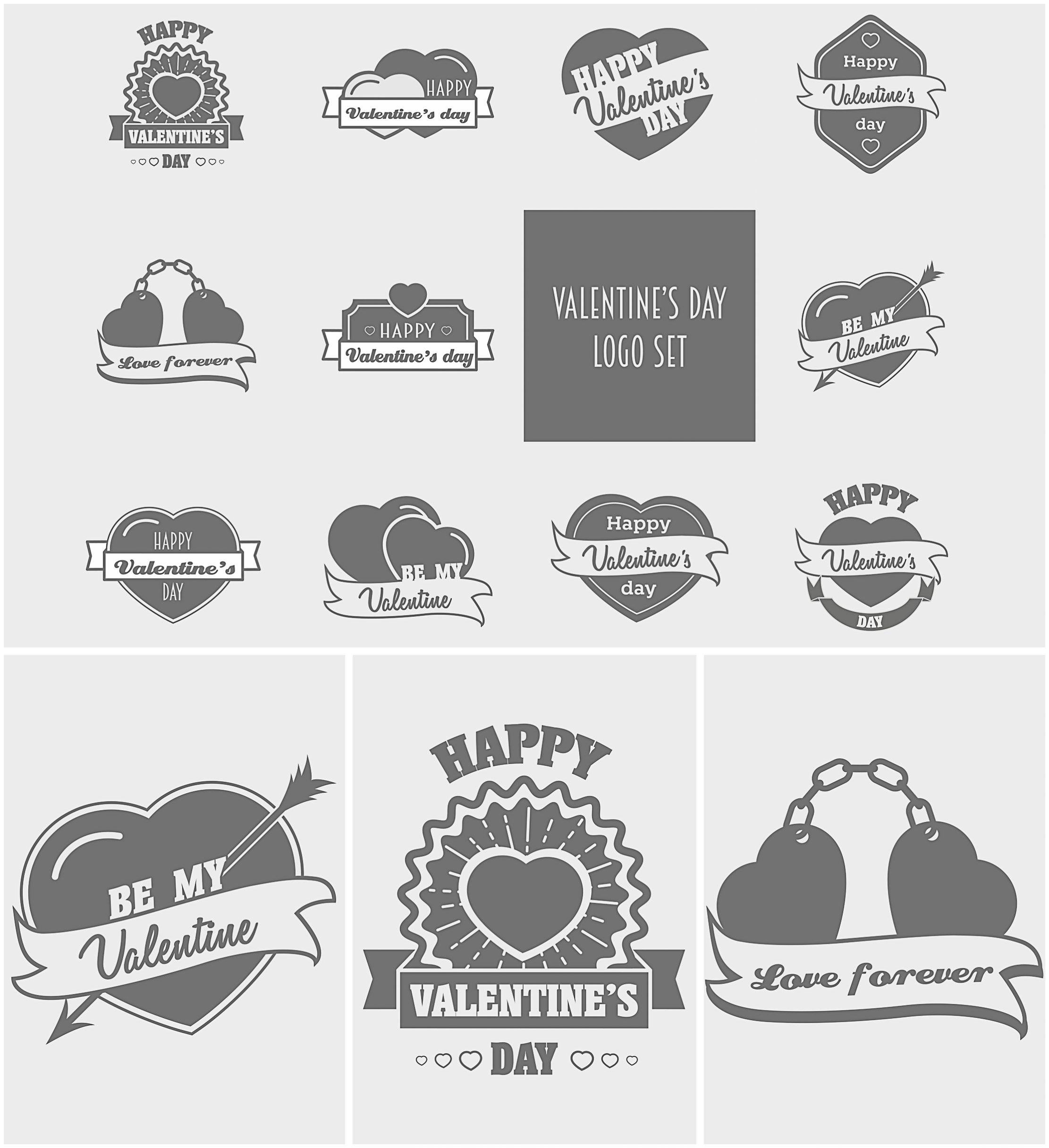 Valentine's day logo with hearts set vector