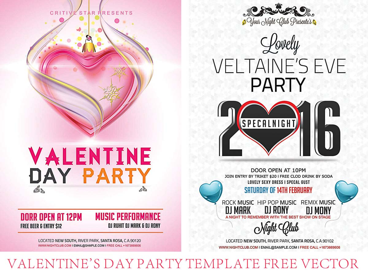 Party flyer template for Valentine's day