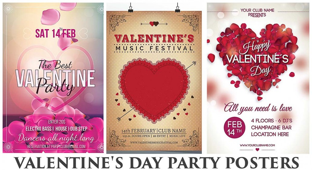 valentines club party poster with petals free download