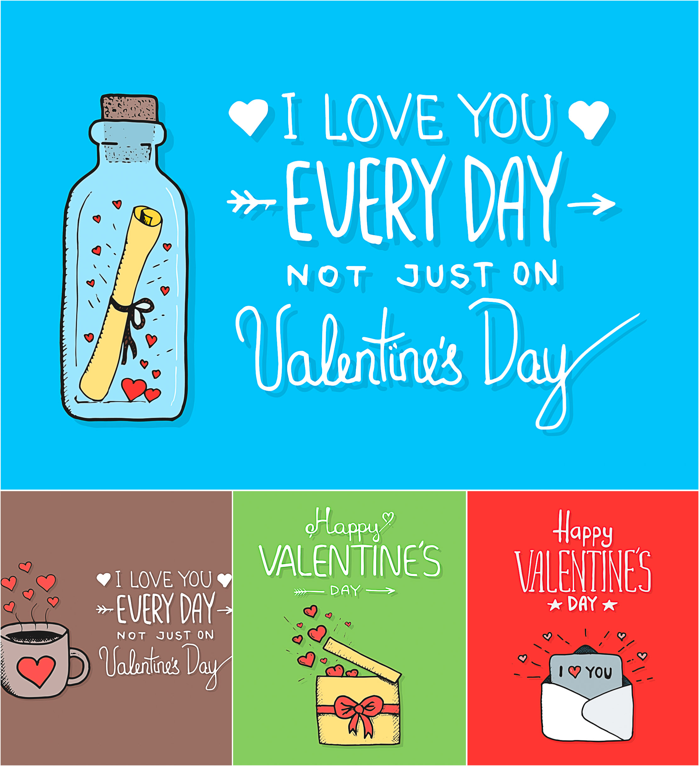 Valentines day cute giftcard collection