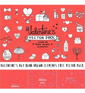 Hand drawn Valentine's day elements