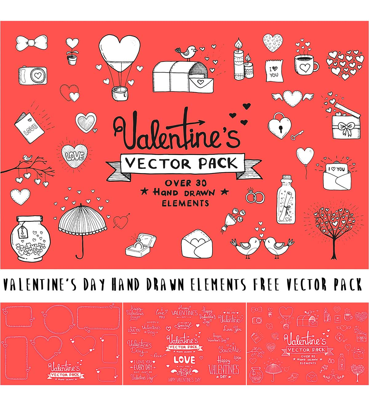 Hand drawn Valentine's day elements
