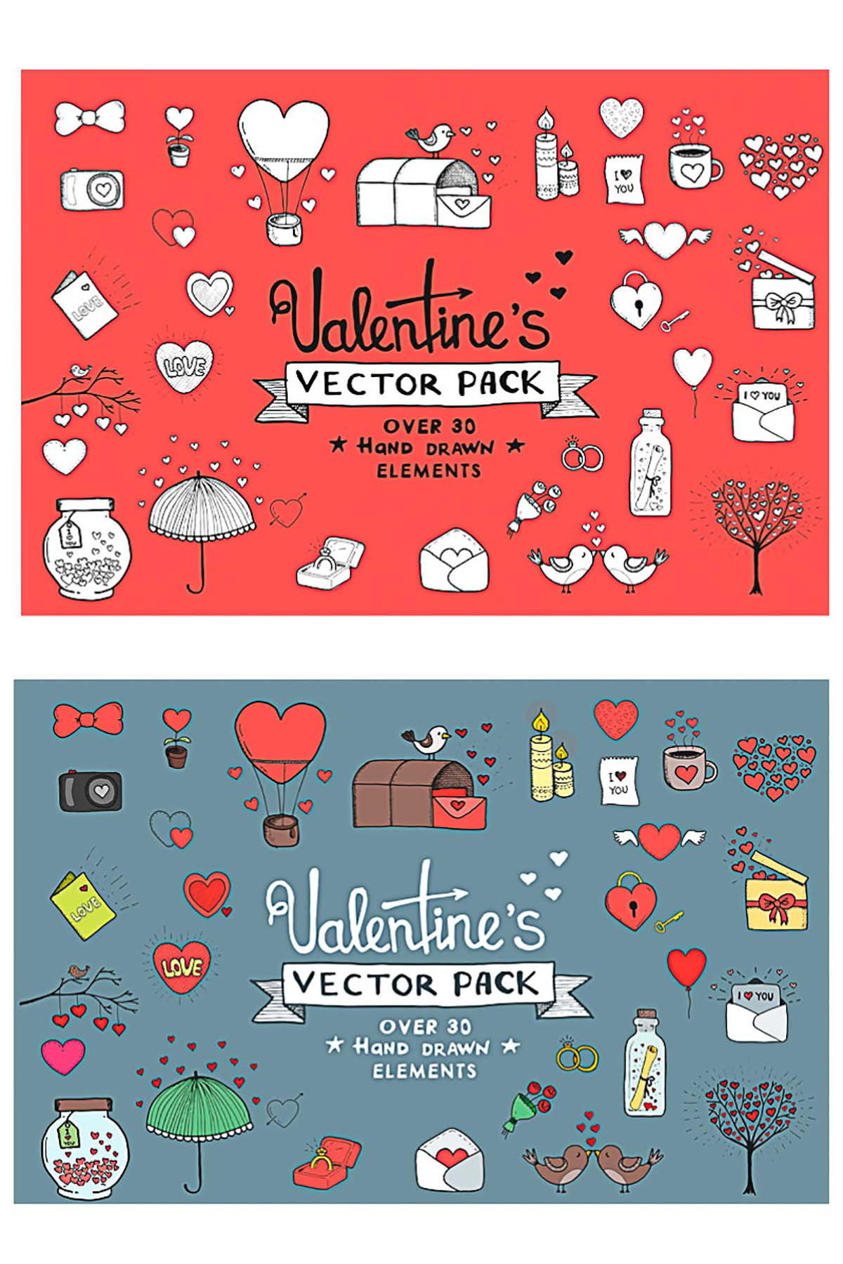 Valentine's day vector romantic elements bundle