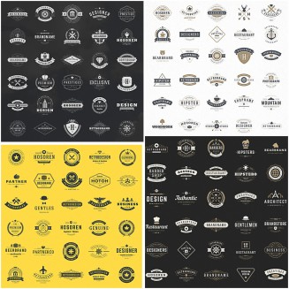 Retro branding logotypes set vector
