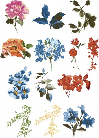 Hand painted flowers vintage design vector